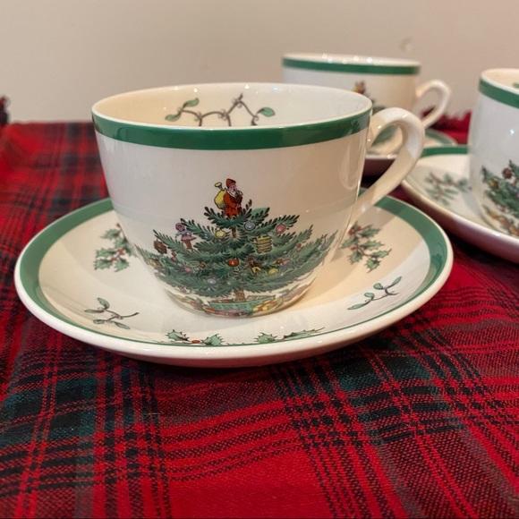 3 SPODE Christmas Tree Teacups Plates ENGLAND